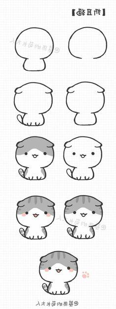 drawings kawaii Exquisite Learn To Draw Animals Ideas Griffonnages Kawaii, Chat Kawaii, Arte Do Kawaii, Cute Easy Drawings, Kawaii Drawings, Cartoon Drawings, Animal Drawings, Drawing Animals, Pencil Drawings