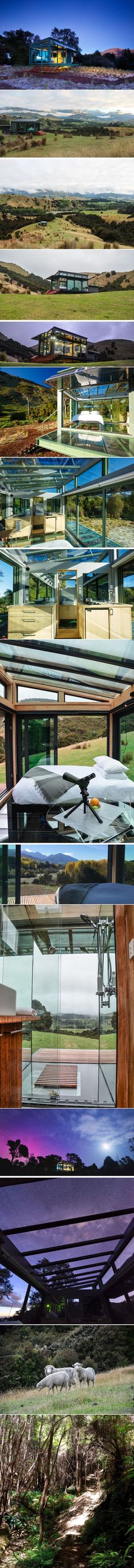 These hillside holiday homes are surrounded by glass giving them amazing views of the hills in New Zealand | CONTEMPORIST