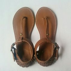 Tan sandals Used only handful of times. Love the metal details. In great condition Shoes Sandals