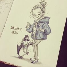 Day 26! #inktober #inktober2014 #ink #dreampets #penguin #scarf #sketches #sketch #sketchbook #instaart #instadaily #instasketch