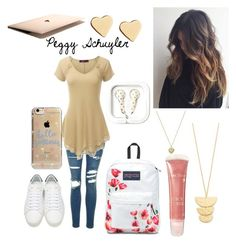 """""""Peggy"""" by emmabaer-1 ❤ liked on Polyvore featuring Topshop, Doublju, Yves Saint Laurent, JanSport, Gorjana, Michael Kors, Lipsy and Agent 18"""