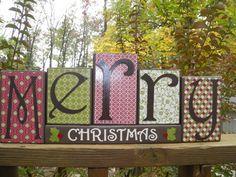 Merry Christmas Wooden Blocks, Christmas Blocks, Christmas Decor, Merry Christmas Decor. $22.00, via Etsy.