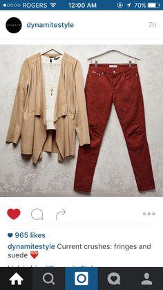 Burgundy pants beige cardigan