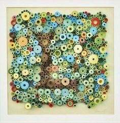 Original 3-Dimensional paper art rolled door LaurieBrownFineArt