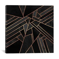 """Mercer41 Black Night Graphic Art on Wrapped Canvas Size: 26"""" H x 26"""" W x 0.75"""" D"""