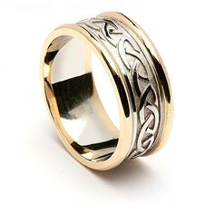 To enhance the timeless Celtic knot design, we have set it in a stylish trim to each side of the band for this unique wedding ring. Choose from yellow or white gold knotwork with a yellow gold trim.  The Celtic knot is famous for representing endless love. Brian Boru's mother was called Beibhinn and he named his daughter after her. The matching men