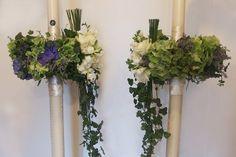 Lumanari de nunta lungi cu Hydrangea Greek Wedding, Flower Art, Ladder Decor, Flower Arrangements, Wedding Flowers, Floral Design, Addiction, Easter, Wedding Ideas