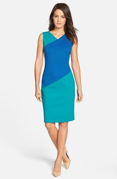 Classiques Entier® 'Sunmosa' Colorblock Ponte Dress (Regular & Petite) available at #Nordstrom