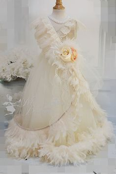 Champagne and Creams Girls Feather Dress by MelissaJaneBoutique