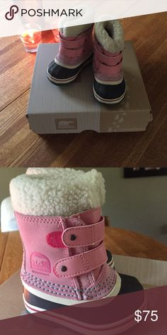 Sorel Boots Infant/toddler Sorel boots size 4. NWT. Comes with box. Coral/Pink color. NEVER WORN. Sorel Shoes Winter & Rain Boots