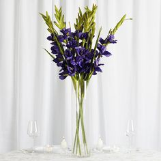 6 Stem 48 Pcs Purple Artificial Gladiolus Stem Flowers Leaf Flowers, Fresh Flowers, Purple Flowers, Purple Wedding Decorations, Gladiolus Flower, Purple Chair, Diy Centerpieces, Floral Bouquets