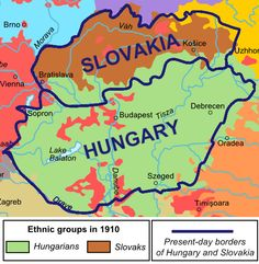 Ethnic map of Slovakia and Hungary in with current borders: History Classroom, Alternate History, Historical Maps, Vintage Maps, European History, Bratislava, Hungary, France, World