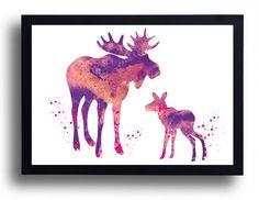 Set 2 Prints Set of 2 prints Dad mom baby moose watercolor art print  family art deer poster Set animal Baby room decor Love gift Stag Nursery wall art