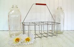 Mid Century Galvanized Metal Milk Bottle Carrier - Vintage Cottage Chic Carry All - Ready for Repurposing