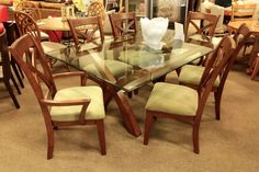 Glass Top Dining Table with 6 Chairs - Colleen's Classic Consignment, Las Vegas, NV www.colleenconsign.com