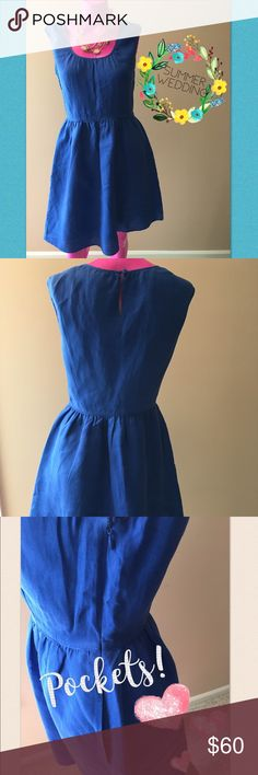 J. CREW Linen Dress (with pockets) J. CREW Royal Blue Linen Knee Length Dress. Pockets!!! Fitted waist. Side zipper closure. Like new condition. Perfect for a summer wedding if dressed up with jewelry and heels! J. Crew Dresses Midi