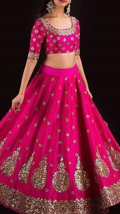 Indian Prom Dresses, Indian Wedding Outfits, Bridal Outfits, Indian Outfits, Half Saree Lehenga, Lehenga Style, Bridal Lehenga, Lehenga Designs, Designer Anarkali Dresses