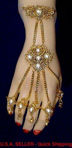 Gold Tone Teardrop Slave Bracelet Panja Handflower Belly Dance Rocklain Sale | eBay
