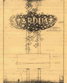 The original stardust hotel & casino neon sign design blueprints Las Vegas Free, Las Vegas Attractions, Old Vegas, Vegas Style, Fallout New Vegas, Love Drawings, Retro Aesthetic, Googie, Sign Design