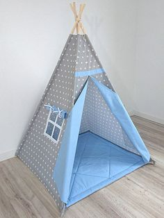 Teepee Playtent Play Teepee Childrens Teepee Tent for Boys Tee pee Kids tent Tipi Teepee tent wigwam white stars on grey Childrens room Diy Teepee, Teepee Tent, Kids Tents, Teepee Kids, Sewing For Kids, Diy For Kids, Childrens Teepee, Baby Room, Playroom