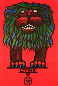 Circus Lion on Cyrk Cyrk Lew (lisciasty) na Cyrku Hilscher Hubert Polish Poster