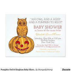 Pumpkin Owl & Gingham Baby Shower Card