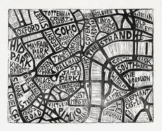 Typographic Linocut Map of Central London by Abigail Daker