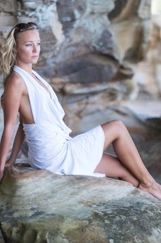 The white short goddess dress made to fit like a glove, half backless and beautiful cowl neck. Valk fashion and valk dresses are the most comfortable you'll find only using the highest quality of fabric. Goddess Dress, Hug You, Free Website, Glove, Cowl Neck, Dress Making, White Shorts, Backless, Fitness