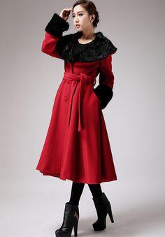 capa roja abrigo de cachemir abrigo abrigo abrigo de por xiaolizi