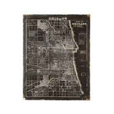 Chicago Map | You don't have to be live from South Side representing Chi-Town to love Chicago. Display your affinity for the Windy City with this canvas Chicago wall plaque. Distressed to look vintage.