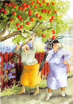 inge look apples onto handbag Friends Illustration, Illustration Art, Funny Christmas Puns, Old Lady Humor, Funny Baby Memes, Sister Love, Illustrations, Whimsical Art, Girl Humor