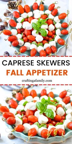 The perfect easy Thanksgiving Finger food Thanksgiving Appetizer idea. Caprese Skewers are an easy Fall and Thanksgiving appetizer for your Thanksgiving dinner or for any fall party. Simple for an easy Thanksgiving make ahead appetizer that even the kids will love to help get ready for the big fall party. Skewer Appetizers, Fall Appetizers, Make Ahead Appetizers, Appetizer Ideas, Appetizer Recipes, Best Thanksgiving Side Dishes, Thanksgiving Dinner Recipes, Dinner Party Recipes, Caprese Skewers