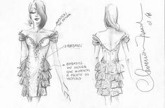 Boceto. Vestido de fiesta Dress Illustration, Perfect Strangers, Fashion Sketches, Fashion Drawings, Edwardian Dress, Drawing Clothes, Drawing Techniques, Watch V, Illustrators
