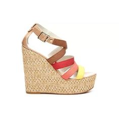 """Nine West Multi-Color Braxton Wedge, size 7.5 Women's Nine West 'Braxton' wedge sandal. Yellow, peach, red, and tan canvas straps with a padded sole and sky-high platform wedge. Perfect for spring & summer! Heel height: 5 1/2"""", platform height: 2"""" (comparable to 3 1/2 heel) . Nine West Shoes Wedges"""
