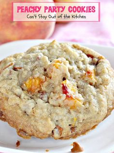 Peachy Party Cookies   Can't Stay Out of the Kitchen   fantastic #sugarcookies with #peaches and #cinnamonchips in the batter. #dessert #cookie