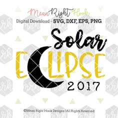 This listing is for an instant digital download of: • Solar Eclipse 2017 design for PERSONAL usage Want to use this design on items you sell for your small business / home base crafting business? Add this commercial usage license on to your order: https://www.etsy.com/listing/261320409/commercial-license-add-on-for-small This can be used in your cutting machine that accepts: • SVG • PNG • DXF or • EPS file types These files will be in 1 zipped folder. You must ...