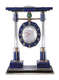 AN IMPRESSIVE LAPIS LAZULI, ROCK CRYSTAL, JADE AND DIAMOND MYSTERY CLOCK, BY CARTIER @DestinationMars