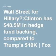 Wall Street for Hillary?:Clinton has $48.5M in hedge fund backing, compared to Trump's $19K | Fox News