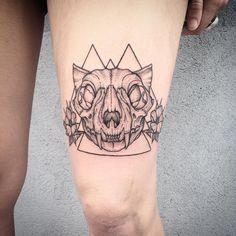 Rad Cat Skull and Flowers on Hannah today ☪ thanks! #tattoo #catskulltattoo #cat #black #blackink #blackworker #btattooing #darkartist #stipple #dotworker #illustration #skull #brooklyn #bushwick