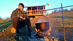 Simple living at my cabin. Romanian dish on open fire.