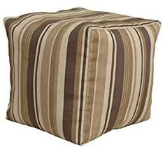 Codson Park 81147 Indoor/Outdoor Pouf, Breezeway Strip Fudge, 18-Inch