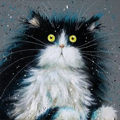 'Juniper' painting - Kim Haskins Art - 1 - Original painting by Kim Haskins starring a signature black and white fluffy cat peering out at the viewer. Crazy Cat Lady, Crazy Cats, Funny Cat Pictures, Cute Pictures, I Love Cats, Cool Cats, Here Kitty Kitty, Cat Drawing, Cat Art
