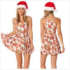 New 2014 Women Brand Summer Cartoon Christmas Milk Pleated Dress,Ladies Sexy Print Mini Causal Beach Dress L Free Shipping $24.05