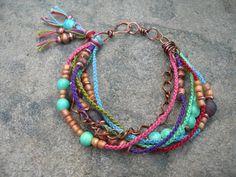 Boho Macrame Bracelet, Beaded Bracelet, Copper Chain & Hand-Knotted Wrapped Beaded Bracelet OOAK. $36.00, via Etsy.