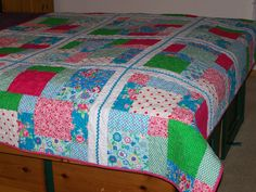 """OH HAPPY DAY Girls Ric Rac Twin Quilt 62"""" x 83"""" Ready to Ship - Custom Order Available - by Myra Barnes of Busy Hands Quilts. $175.00, via Etsy."""