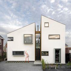 Félnyeregtető a modern lakóépületen - homlokzat ötletek, modern stílusban