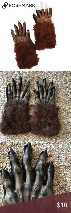 Warewolf hands, gloves  Halloween costume These men's gloves are the perfect addition to your Halloween costume!   These brown ware wolf hands feature fur cuffs and rubber molded hands complete with claws! The bottom of the gloves are a thin black material (polyester?) this allows you to easily grip your beer, treat basket or anything else.   Minor signs of wear, pictured.   One size fits most adults. Accessories Gloves