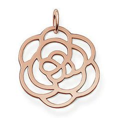 """THOMAS SABO Sterling Silver Glam & Soul Pendant """"flower"""" flower Pendant with eyelet 925 Sterlingsilver; 18K rose gold plated The large THOMAS SABO rose with exquisite 750 rose gold plating (18 carat) as a pendant. Size: 3.3 cm"""