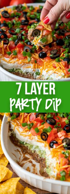 7 Layer Dip Recipe 7 Layer Dip is one of the BEST party appetizers! It's filled with seven layers of delicious ingredients that's perfect for any occasion. Best Party Appetizers, Best Appetizer Recipes, Snacks Für Party, Appetizer Dips, Yummy Appetizers, Mexican Food Recipes, Appetizers For Summer, Dip Recipes For Parties, Easy Party Dips