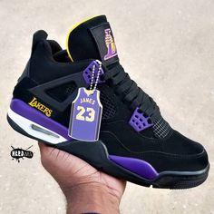 Jordan 4 Lakers Custom By: Cop or Drop 👇🏽👇🏽👇🏽 Jordan 4, Jordan Retro 4, Streetwear, Jordan Shoes Girls, Girls Shoes, Zapatillas Jordan Retro, Fly Shoes, Nike Air Shoes, Nike Socks